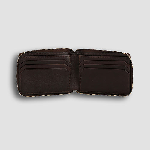 Lizard Zipper Bi-fold Brown