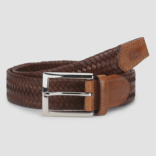 Big Weave Casual Belt Cognac