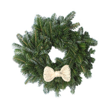 Load image into Gallery viewer, 14 Inch Crochet Bow Tie Christmas Wreath