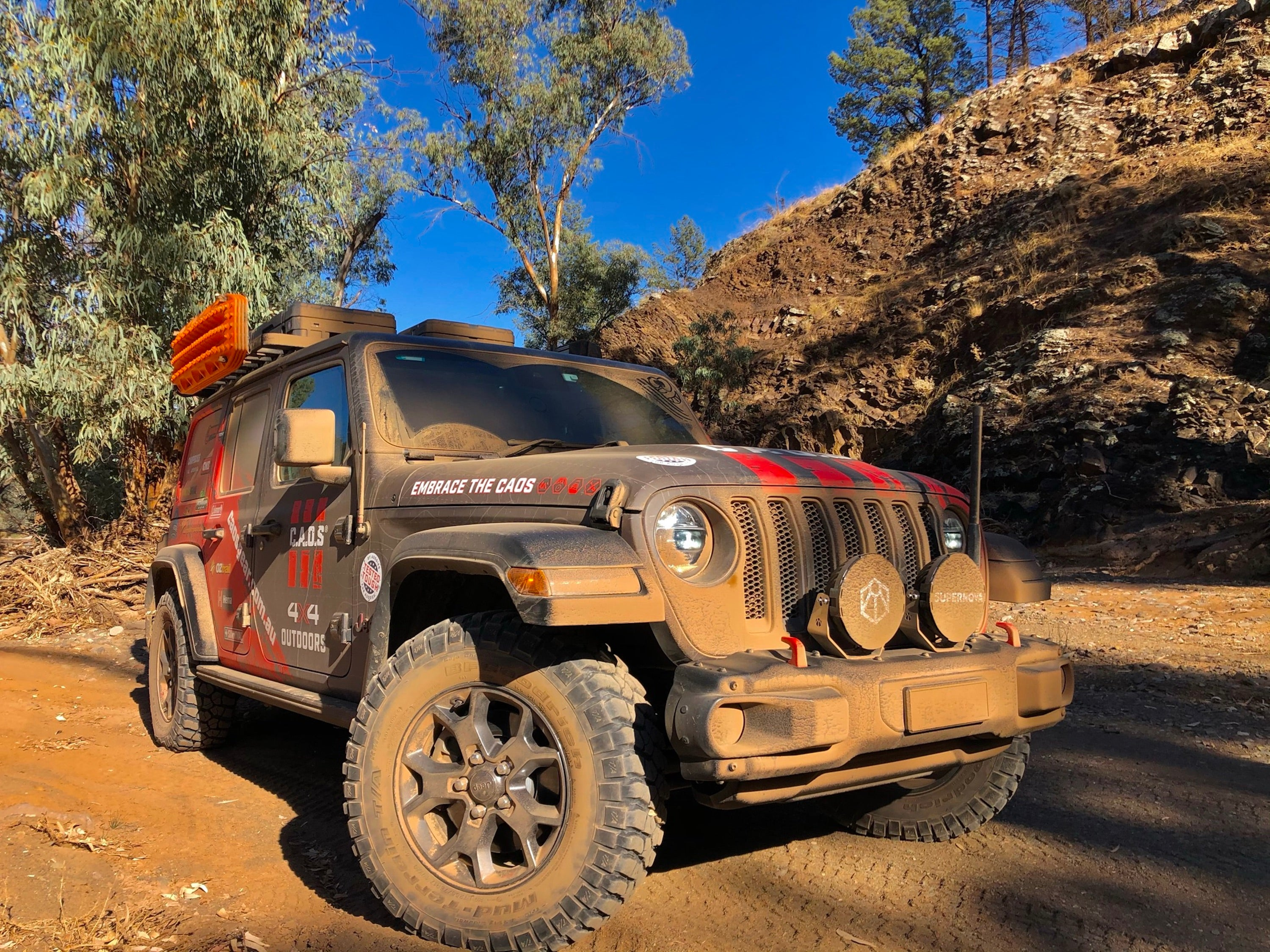 Dusty CAOS Jeep In Brachnia Gorge River Bed