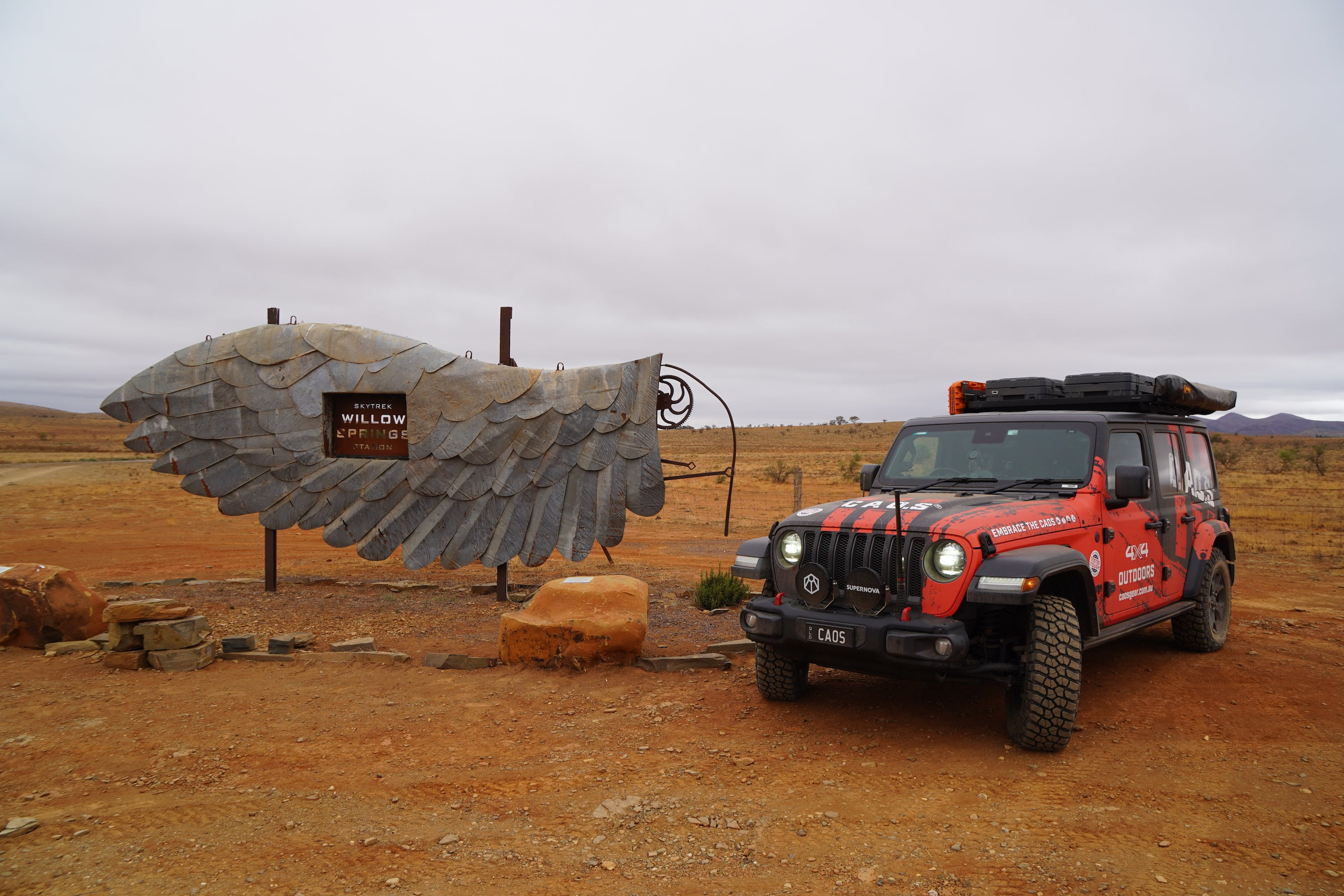 CAOS Jeep At Willow Springs Entrance Sign