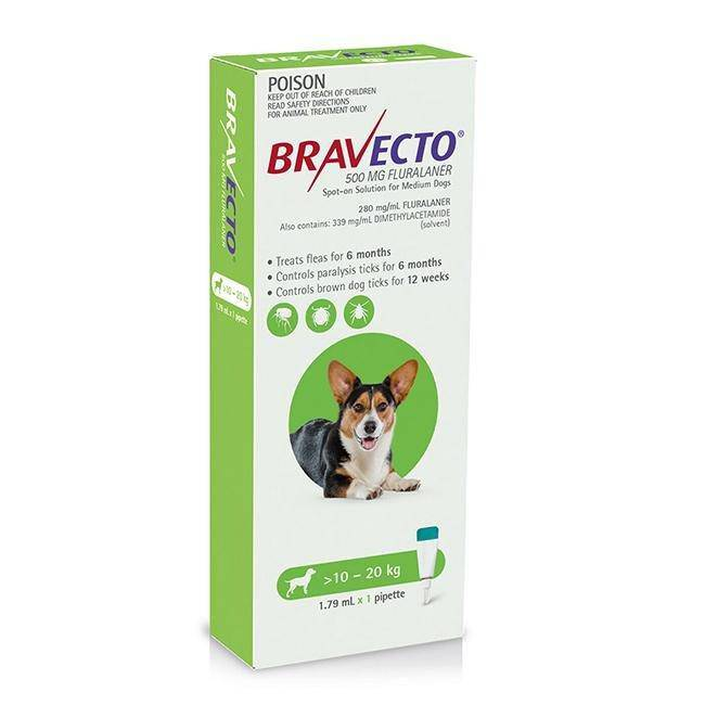 Bravecto Dog SPOT ON  Medium 10-20kg Green - petazaustralia