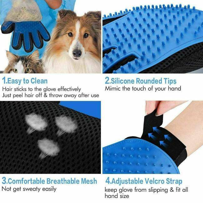 Dog Cat Grooming Cleaning Magic Massage Glove Hair Remover - petazaustralia
