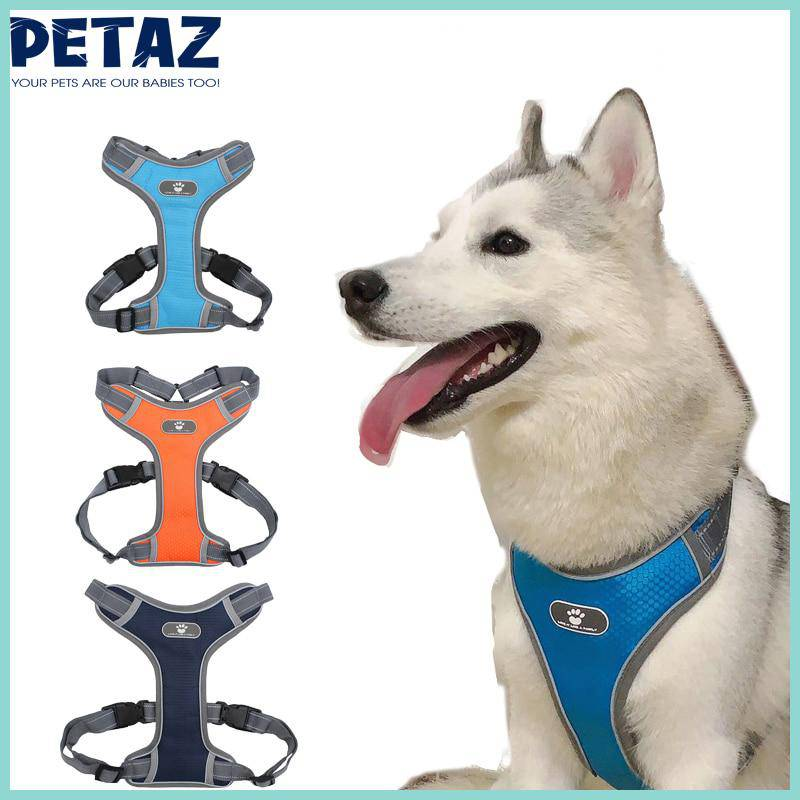 Dog Harness Vest Adjustable Reflective Breathable Mesh Dark Blue - petazaustralia