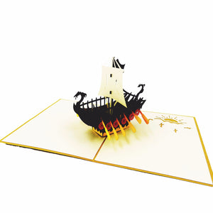 Viking Ship Pop Up Card-black