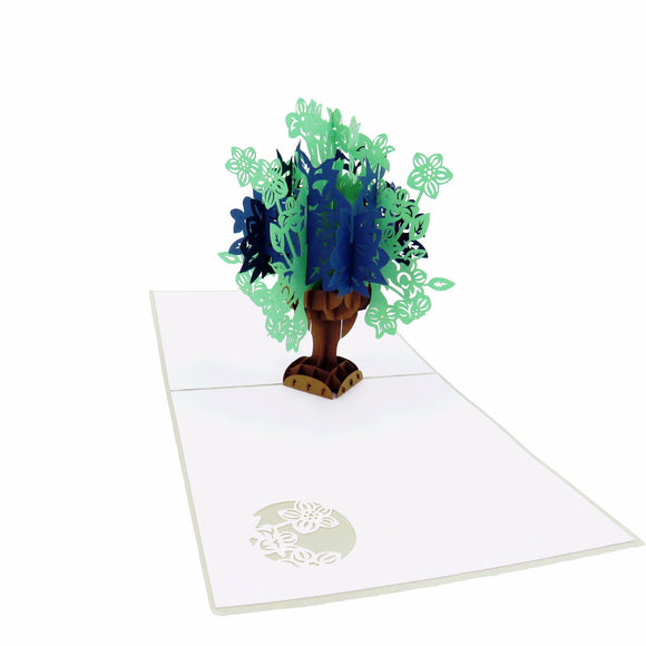 Flower Bouquet Pop Up Sympathy Card Blue,Green