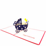 New Baby Pop Up Card-Girl Stroller