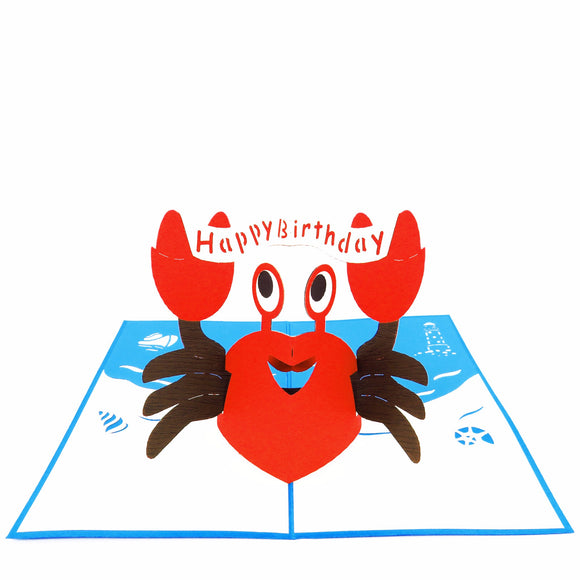 Party Crab Pop Up Birthday Card