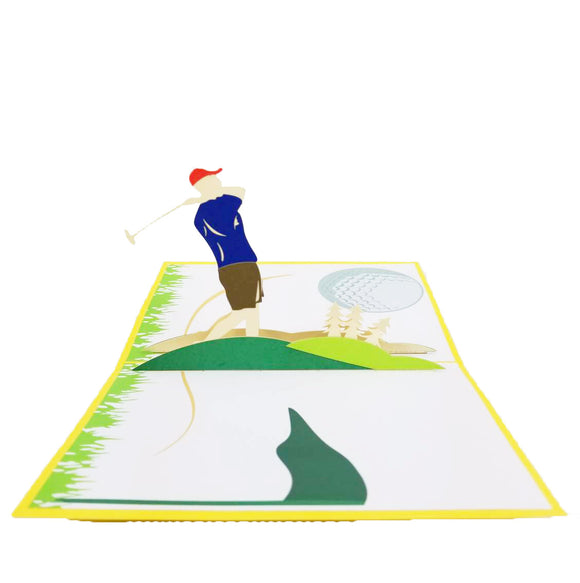 Golfer Pop Up Card