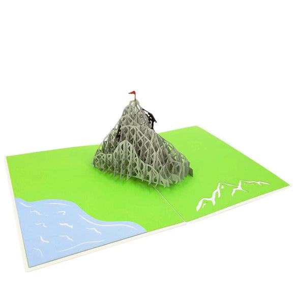 Mountain Climbing Pop Up Card-Green Grass