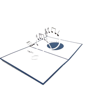 Musical Notes Pop Up Card-blue