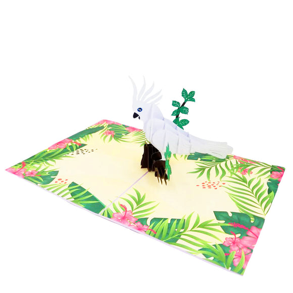 White Parrot Bird Pop Up Card