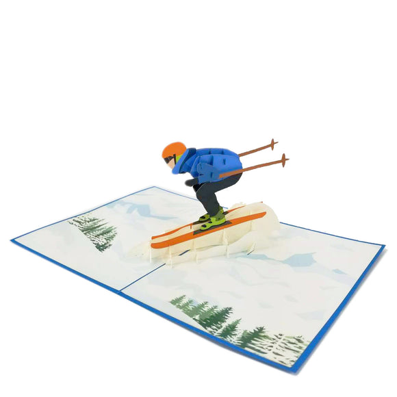 Skiing Pop Up Card