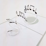 Musical Notes Pop Up Musical Card-Grey