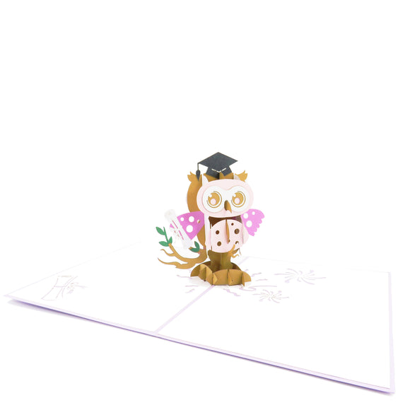 Graduation Owl-girl Pop Up Card