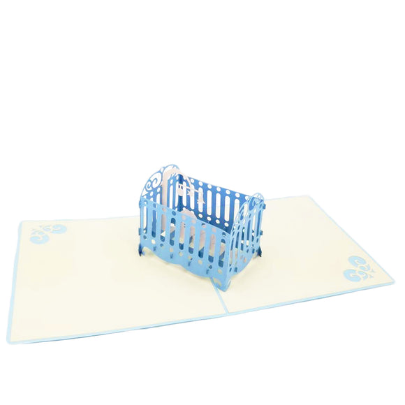 Baby Crib Pop Up Card-Boy
