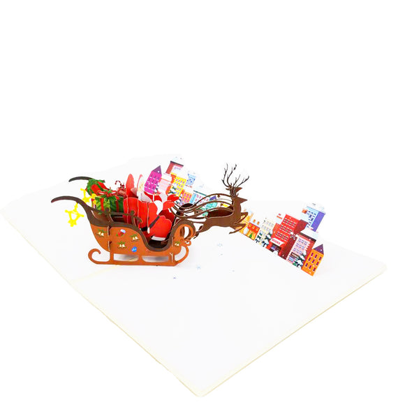 Santa sleigh Christmas Pop Up Card