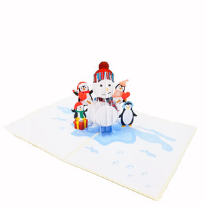 Snowman and Penguins Pop Up Card