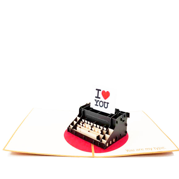 Typewriter I Love You Pop Up Card