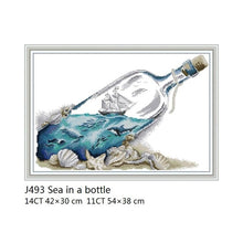 Load image into Gallery viewer, Ship In A Bottle Cross-stitch Kit