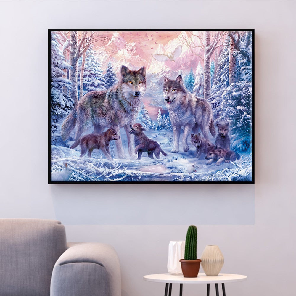 Wolf Pack in Winter Cross-Stitch Kit