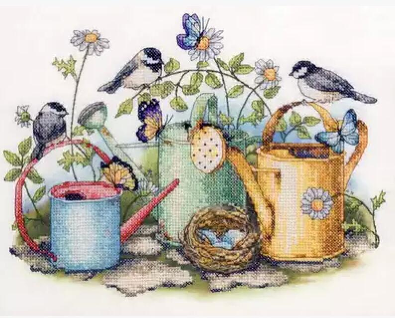 Birds and Butterflies on Watering Cans Cross-Stitch Kit
