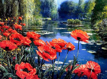 Load image into Gallery viewer, Poppies by a Pond Cross-Stitch Kit