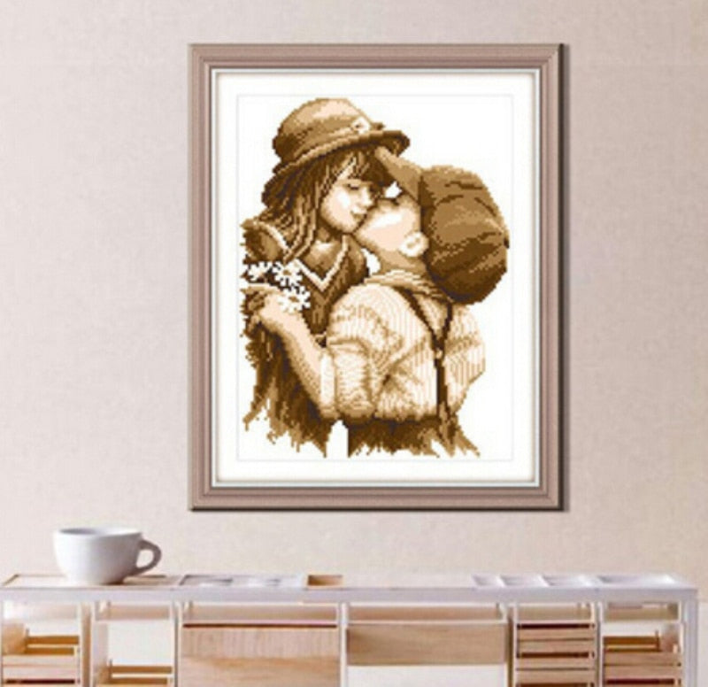 First Kiss Cross-Stitch Kit