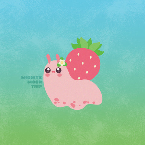 kawaii cute pink snail with a strawberry shell