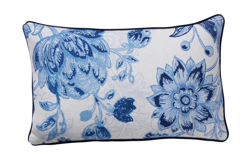 Blue Floral Cushion 30cm x 50cm