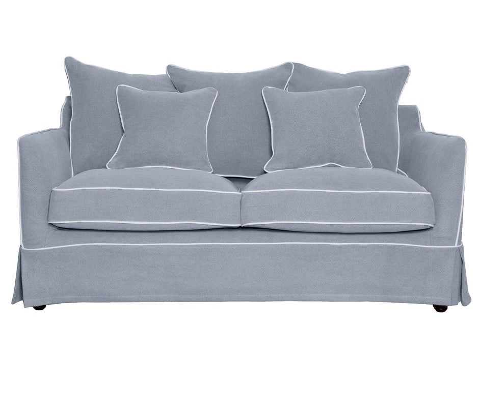 Noosa 2 Seat Sofa in Grey with White Piping