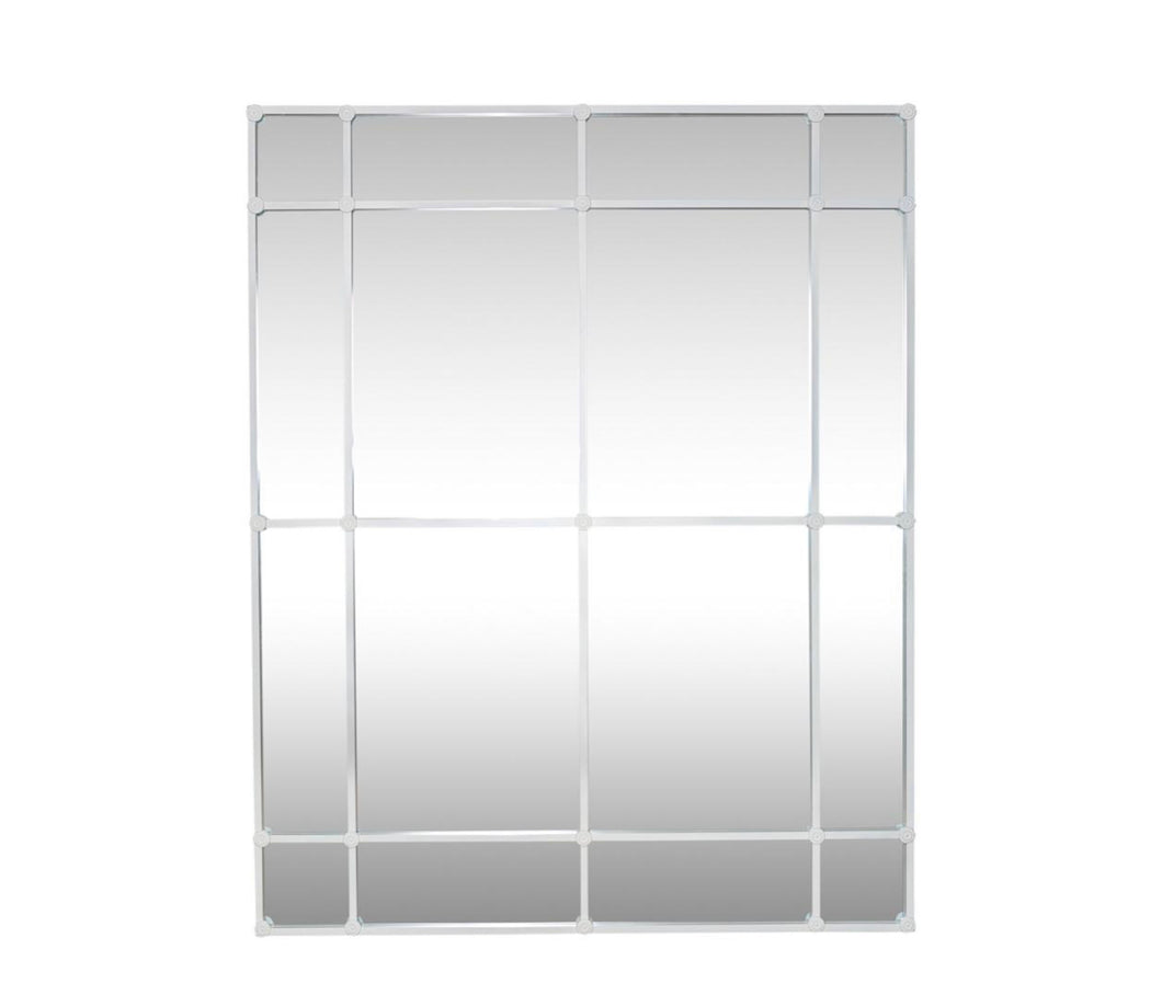 Rectangular 16 Pane White Mirror