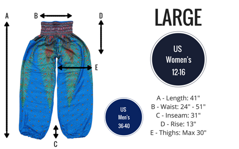 purple peacock harem yoga pants bohemian island size guide