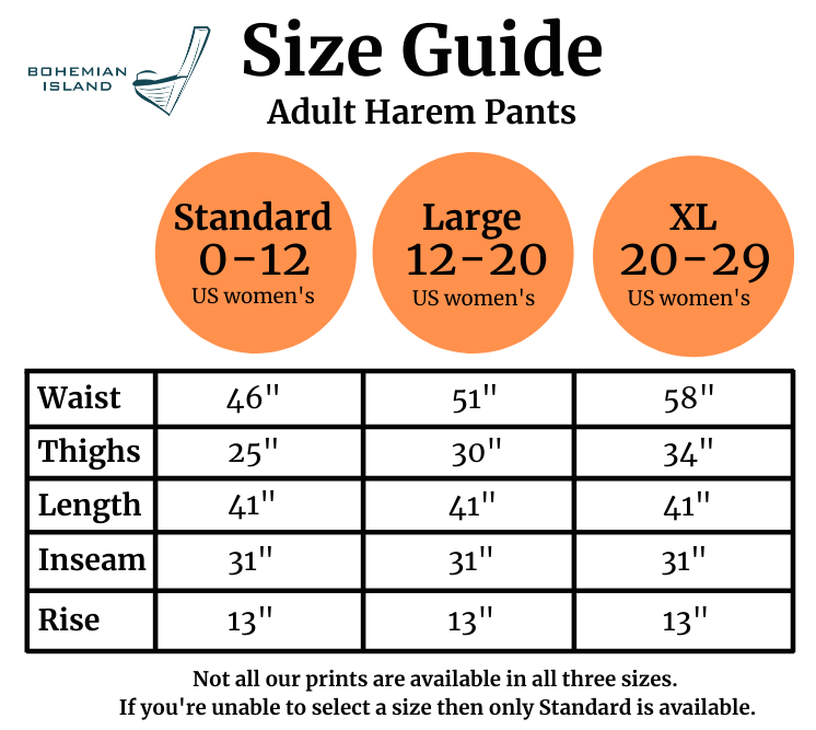 2020 Size Guide for Bohemian Island's Harem Pants