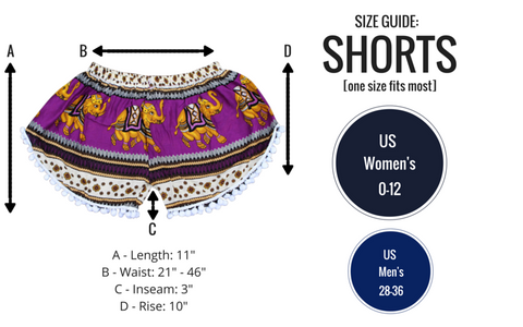 turquoise elephant shorts size guide from bohemian island