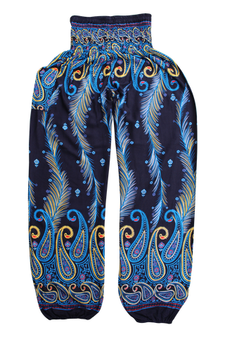 blue feather harem pants bohemian island