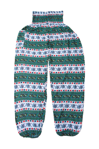 Green Royal Elephant Harem Pants bohemian island