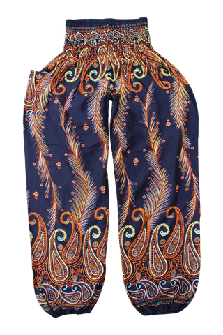orange feather harem pants bohemian island