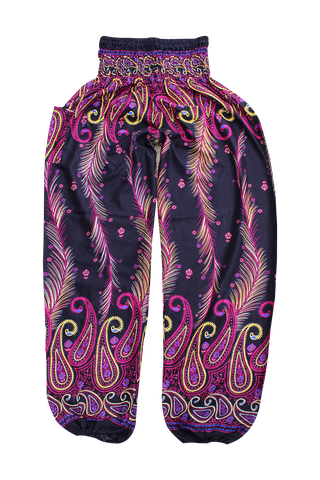 pink feather harem pants bohemian island