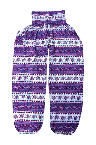 Purple Royal Elephant Harem Pants bohemian island