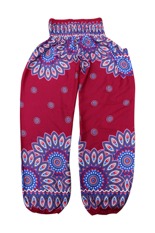 red floral harem pants bohemian island