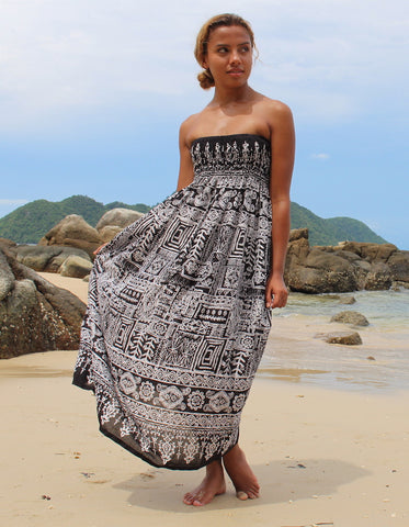 black aztec womens maxi dress bohemian island