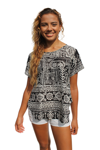 black aztec womens cotton shirt bohemian island