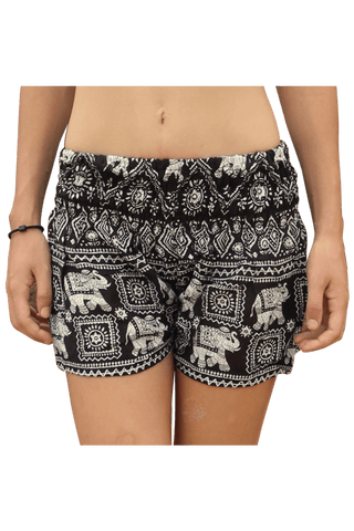 Black Elephant hotpants. Bohemian style elephant shorts from Bohemian Island