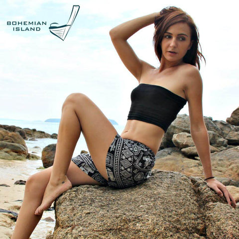Black Elephant shorts. Cotton clothing from Bohemian Island