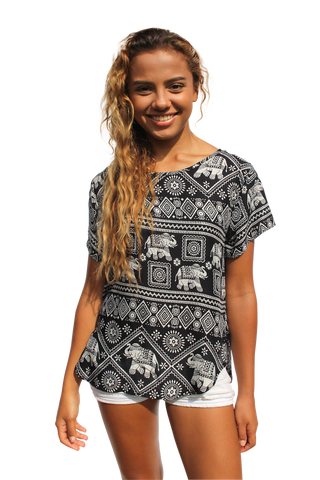 black elephant womens cotton shirt bohemian island