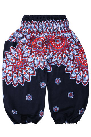 Black Floral Kids Harem Pants from Bohemian Island