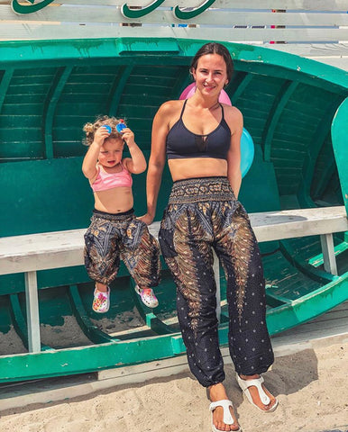 black peacock kids harem pants from bohemian island