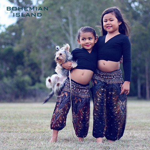 black peacock kids harem pants bohemian island