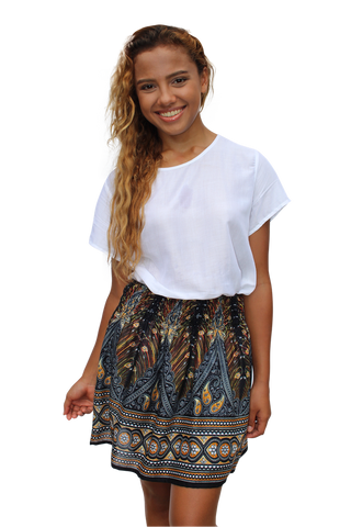 black peacock short mini skirt bohemian island